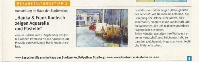 Veranstaltungstipp - Hanka & Frank Koebsch stellen im Haus der Stadtwerke Rostock aus