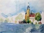 Arbeitsstand des Aquarells Schweriner Schloss (c) FRank Koebsch