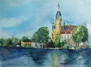 Blick auf das Schweriner Schloss (c) Aquarell von FRank Koebsch