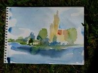 Farbskizze Schweriner Schloss (c) Frank Koebsch