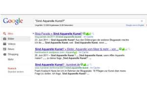"Google Abfrage zu dem Suchbegriff ""Sind Aquarelle Kunst"""