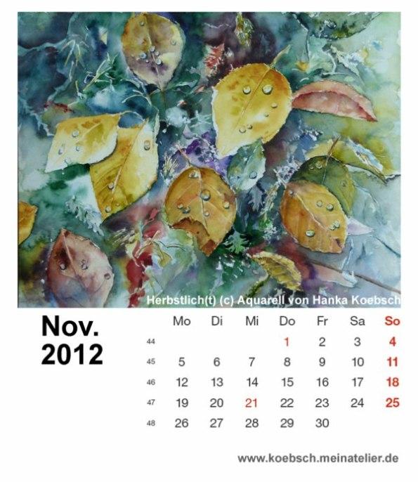 Kalenderblatt November 2012
