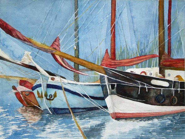 Päckchen im Hafen (c) Aquarell mit Windjammern von FRank Koebsch