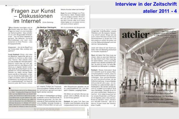 Interview von Susanne Haun und Frank Koebsch in der Zeitschrift atelier 2011 - 4