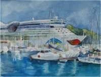 AIDA im Hafen von Catagena (c) Aquarell von Frank Koebsch