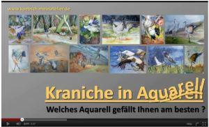Kraniche in Aquarell von Frank Koebsch