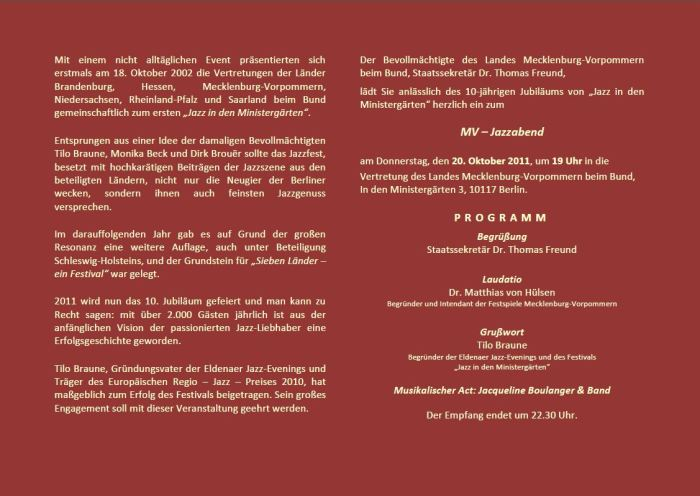 Einladung in die Ministergärten zum MV Jazzabend 2