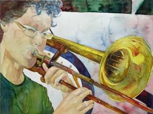 Ingo with his trombone (c) Jazz Aquarell von Frank Koebsch