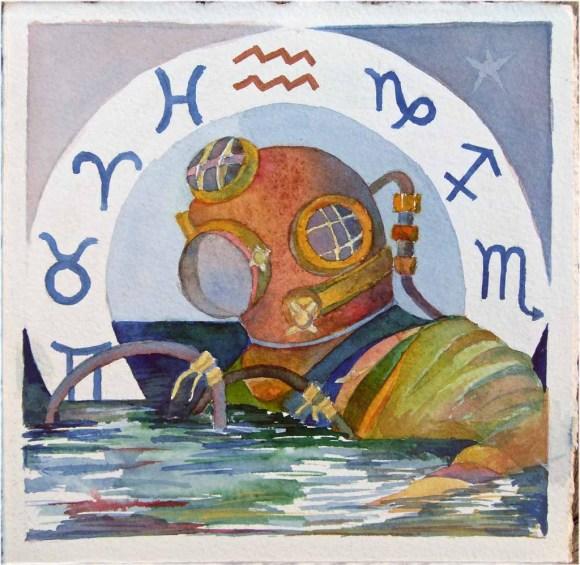 Sternzeichen Wassermann (c) Aquarell von FRank Koebsch