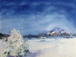 Dezemberlicht (c) ein Winteraquarell von Hanka Koebsch