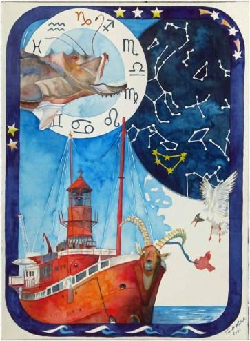 Hamburger Feuerschiff im Zeichen der Sterne (c) Aquarell von FRank Koebsch