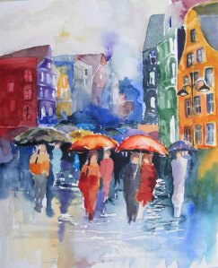 Stadtregen (c) Aquarell von Hanka Koebsch