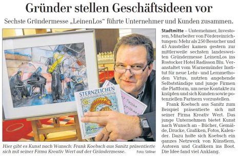 FRank Koebsch auf der Gründermesser in Rostock OstseeZeitung vom 2012 01 14 S. 12