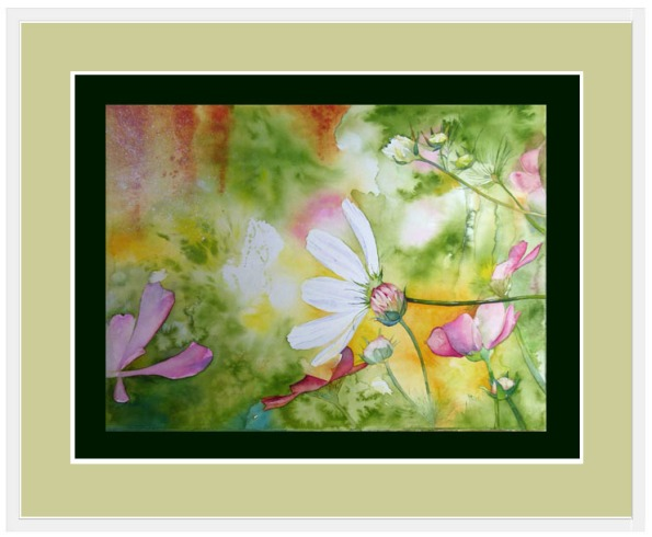 Aquarelle - Rahmen 90 x 110 cm, Bild mit ein einem dunkel grünen Papier hinterlegt