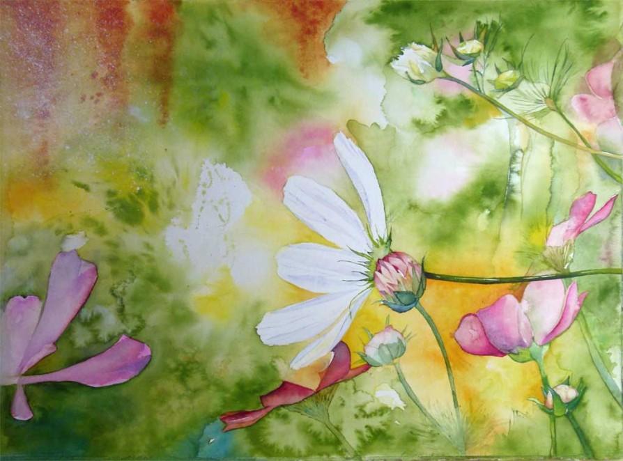 Farbspiele im Frühling (c) Aquarell von Frank Koebsch