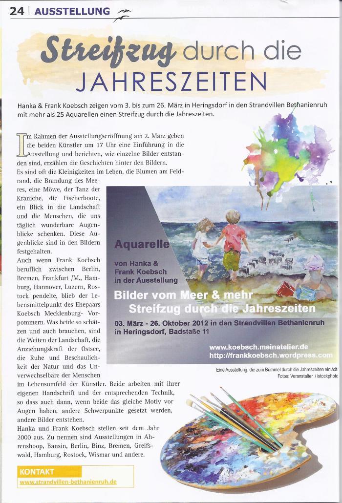 Ausstellung von Hanka & Frank Koebsch in der Usedom aktuell 2012 März - April