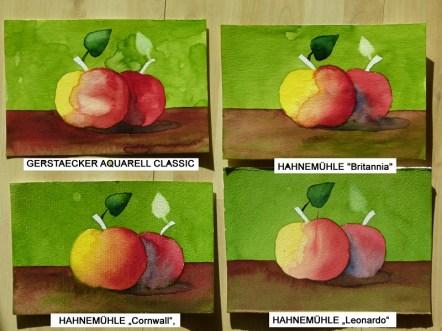 Der Vergleich der fertigen Aquarelle auf den unterschiedlichen Papieren (c) Frank Koebsch