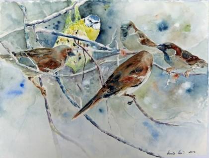 Lagebesprechung (c) Aquarell von Hanka Koebsch