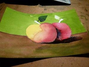 Schritt 6 der rechte Apfel wird mit Rot und die Schatten mit Blau angelegt - Hahnemühle Papier Britannia (c) Frank Koebsch