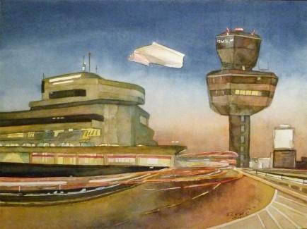 Auf dem Weg zum letzten Flug am Abend (c) Aquarell von Frank Koebsch