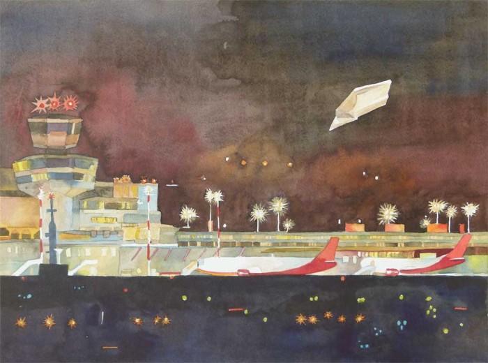 Letzte Landung in Tegel (c) Aquarell von Frank Koebsch