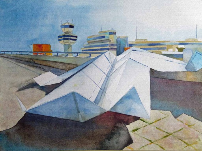 Papierflieger - ready for take off (c) Aquarell von Frank Koebsch