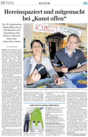 Hereinspaziert und mitgemacht bei - Kunst offen mit Anna Zasulsky und Frank Koebsch- Ostsee Zeitung 2012 05 24