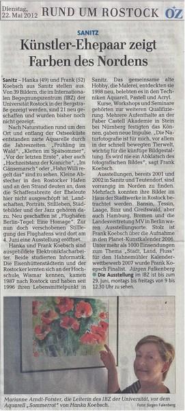 Künstler Ehepaar zeigt Farben des Nordens - Artikel in der Ostsee - Zeitung 2012 05 22