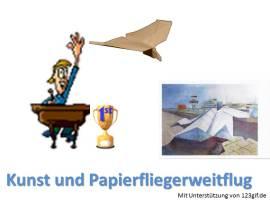 Kunst und Papierfliegerweitflug