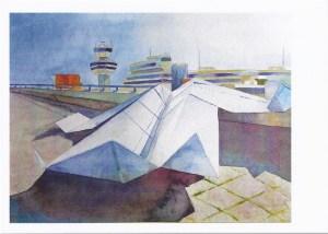"Postkarte ""Papierflieger - ready for take off"" (c) Aquarell von Frank Koebsch"