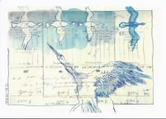 """Postkarte """"Der Traum vom Fliegen (Batt 7)"""" (c) Zeichnung von Susanne Haun"""