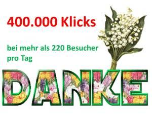 400.000 Klicks – sind ein Grund für ein Dankeschön