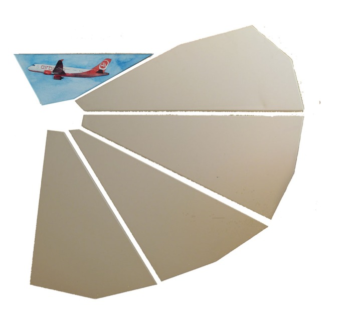 Abheben vom Flughafen Tegel (c) Teil eines Aquarell von Frank Koebsch