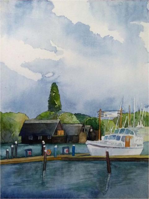 Bei schönem Wetter sind fast alle auf dem See (c) Aquarell von Frank Koebsch