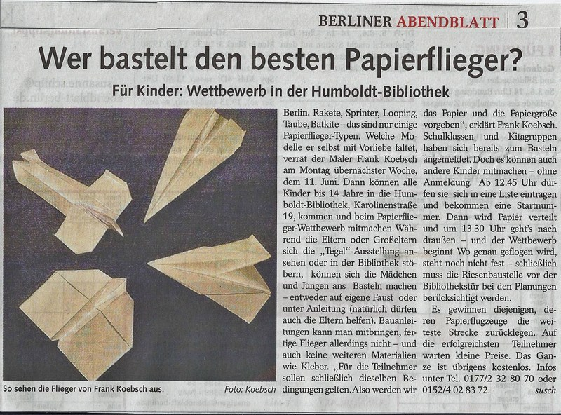 Berliner Abendblatt berichtet über unsere Ausstellung Flughafen Berlin Tegel - Eine Hommage auf Seite 3