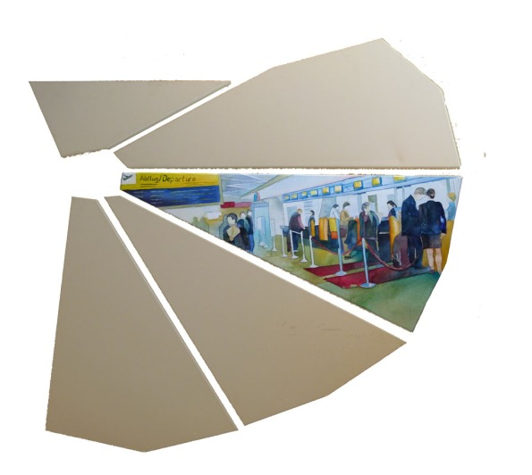 Einchecken auf dem Flughafen Tegel (c) Teil eines Aquarell von Frank Koebsch