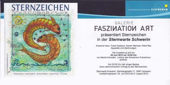 Einladungskarte zur Ausstellung Sternzeichen in die Sternwarte Schwerin