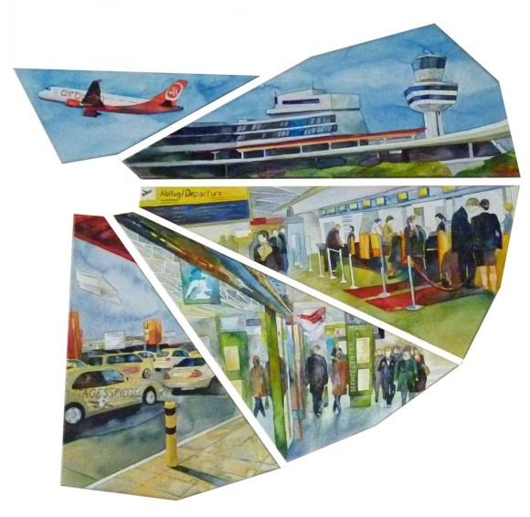 Flughafen Berlin - Tegel (c) Aquarell auf Leinwand von Frank Koebsch
