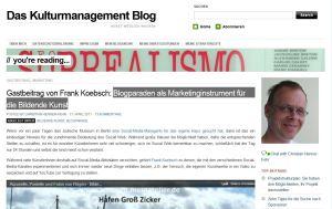 Kulturmanagement Blog veröffentlicht den Artikel Blogparaden als Marketinginstrument für die Bildende Kunst von Frank Koebsch