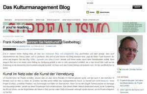 Kulturmanagement Blog veröffentlicht den Artikel Kennen Sie Netzkunst von Frank Koebsch