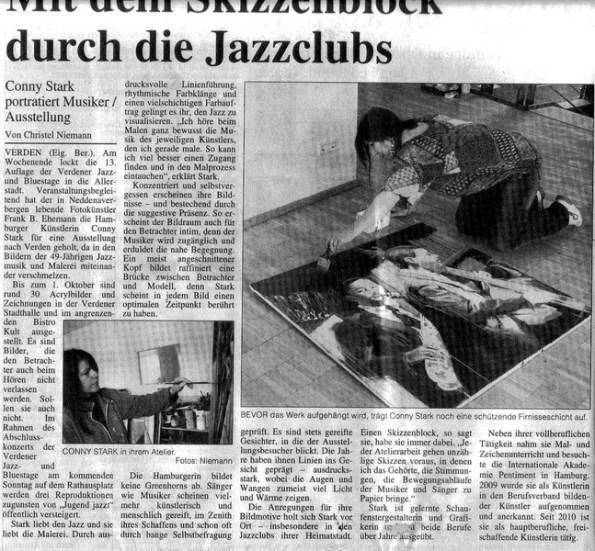Mit dem Skizzenblock durch die Jazz Clubs - Artikel über die Ausstellung von Conny Stark in Verden