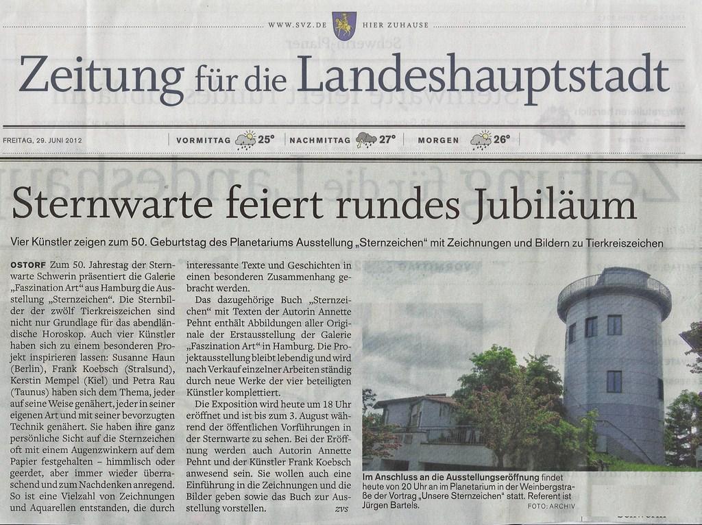 Schweriner Volkszeitung berichtet über die Ausstellung unserer Sternzeichen in der Sternwarte Schwerin 2012 06 29