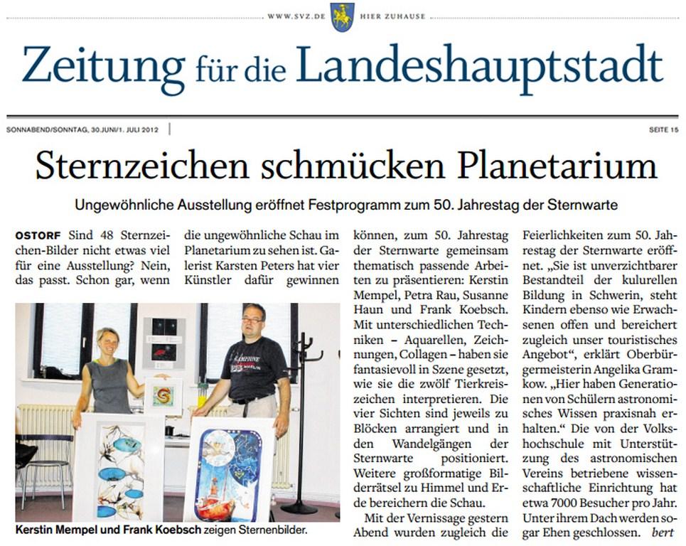Schweriner Volkszeitung berichtet über die Ausstellung unserer Sternzeichen in der Sternwarte Schwerin 2012 06 30
