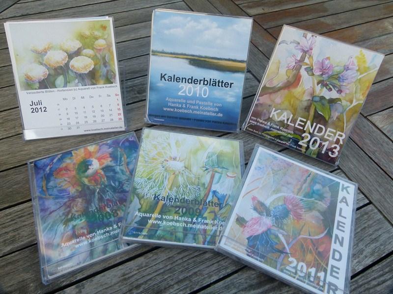Unsere Kalender mit Aquarellen und Pastellen von 2008 - 2013 (c) Frank Koebsch