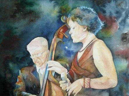 Konzentration - pp - (c) ein Jazz Aquarell von Frank Koebsch