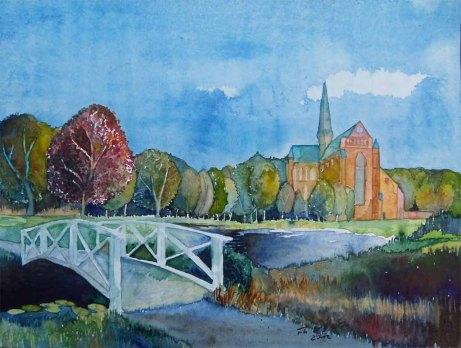 Blick auf das Münster (c) Aquarell von Frank Koebsch