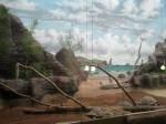 Galapagos-Schildkröten mir Wandmalerei im Darwineum (c) Frank Koebsch
