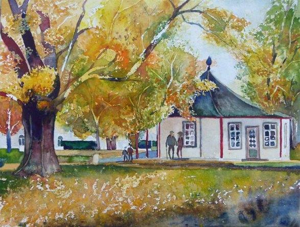 Roter Pavillon im Herbst (c) ein Aquarell vom Doberaner Kamp - Frank Koebsch
