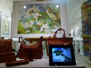 Schaufenster der Galerie Severina mit meinem Aquarell (c) Frank Koebsch