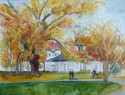 Weißer Pavillon im Herbst (c) ein Aquarell vom Doberaner Kamp – Frank Koebsch